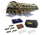 King Single Camping Canvas Swag Tent - Green/Camo 6
