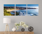 Bronte Beach Sunrise 50x50cm 3-Part Canvas Wall Art Set 2