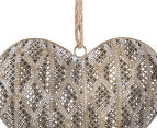 Lustre 27x25cm Hanging Heart w/ Jute Hanger - Antique Gold 3
