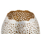 Small 7x8.5cm Tealight Votive w /Intricate Cut-Outs - Nickel 3