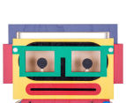 Rolly Robot Clock - Blue/Green 3
