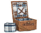 Avanti 2 Person Picnic Basket - Light Brown Willow/Blue Checker 1
