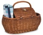 Avanti 4 Person Picnic Basket - Light Brown Willow/Blue Checker 3