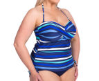 Sea Star Women's Nicola One Piece Swimsuit - Turquoise/Navy Stripe 3