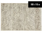 Emerald City 160x110cm Lotus Digital Print Soft Acrylic Rug - Ivory 1