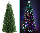 Artificial 2.1m LED 5-Colour Changing Optic Fibre Christmas Tree - Green 5