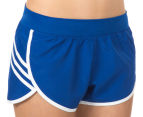 Adidas Women's Ultimate 3-Stripes Shorts - Blue/White 3