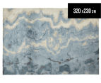 Emerald City 320x230cm Digital Print Soft Acrylic Rug - Niagara Blue 1