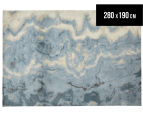 Emerald City 280x190cm Niagara Digital Print Soft Acrylic Rug - Blue 1