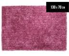 London Metallic 130x70cm Chunky & Thin Shag Rug - Berry 1