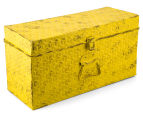 Vintage Look 49x25x19cm Punched Metal Chest - Yellow 1