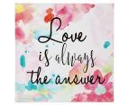 Love 20x20cm Square Lacquered Wall Plaque - Multi 1
