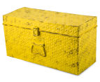 Vintage Look 49x25x19cm Punched Metal Chest - Yellow 3