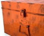 Vintage Look 49x25x19cm Punched Metal Chest - Orange 6