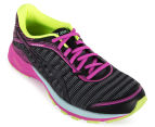 ASICS Women's DynaFlyte Shoe - Black/Pink Glow/SafetyYellow 2