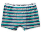 2 x Bonds Boys' Guyfront Trunk - Metallic Grey/Teal/Navy 2