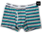 2 x Bonds Boys' Guyfront Trunk - Metallic Grey/Teal/Navy 1