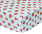 The Peanut Shell Flowers Fitted Cot Sheet - Coral/Aqua 1