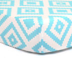 The Peanut Shell Tile Fitted Bassinet Sheet - Teal 1