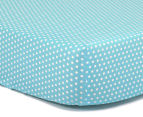 The Peanut Shell Dots Fitted Bassinet Sheet - Teal 1