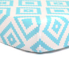 The Peanut Shell Tile Fitted Cot Sheet - Teal  1