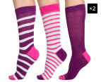 2 x Bonds Women's Fashion Crew Socks 3-Pack - Multi  1