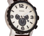 Fossil Men's 48mm Nate Chronograph Leather Watch - Dark Brown 2