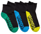 Bonds Kids' Quarter Crew Socks 3-Pack - Black/Multi 1