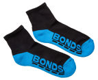 Bonds Kids' Quarter Crew Socks 3-Pack - Black/Multi 3