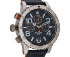 Nixon Men's 48mm 48-20 Chrono Leather Watch - Blue/Orange 2