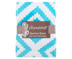 The Peanut Shell Tile Fitted Bassinet Sheet - Teal 2