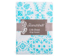The Peanut Shell Floral Fitted Cot Sheet - Teal 2