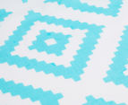The Peanut Shell Tile Fitted Cot Sheet - Teal  3