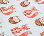 Little Cloud Clever Fox Fitted Cot Sheet - Multi 3