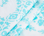 The Peanut Shell Floral Fitted Cot Sheet - Teal 4
