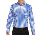 Van Heusen Men's Euro Fit Check Long Sleeve Shirt - Blue 2