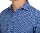 Van Heusen Men's Slim Fit Check Long Sleeve Shirt - Blue/Navy 6