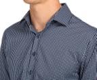 Van Heusen Men's Slim Fit Check Long Sleeve Shirt - Dark Navy 6