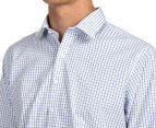 Van Heusen Men's Euro Fit Check Long Sleeve Shirt - White/Blue 6