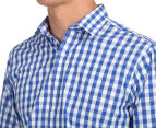 Van Heusen Men's Euro Fit Check Long Sleeve Shirt - Blue 6