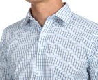 Van Heusen Men's Euro Fit Check Long Sleeve Shirt - Blue/White 6