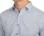 Van Heusen Men's Slim Fit Paisley Long Sleeve Shirt - Navy 6