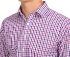 Van Heusen Men's Euro Fit Check Long Sleeve Shirt - Pink Champagne 6