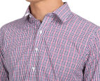 Van Heusen Men's Euro Fit Check Long Sleeve Shirt - Mauve 6