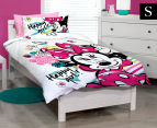 Disney Minnie Single Bed Quilt Cover Set - White/Pink 1