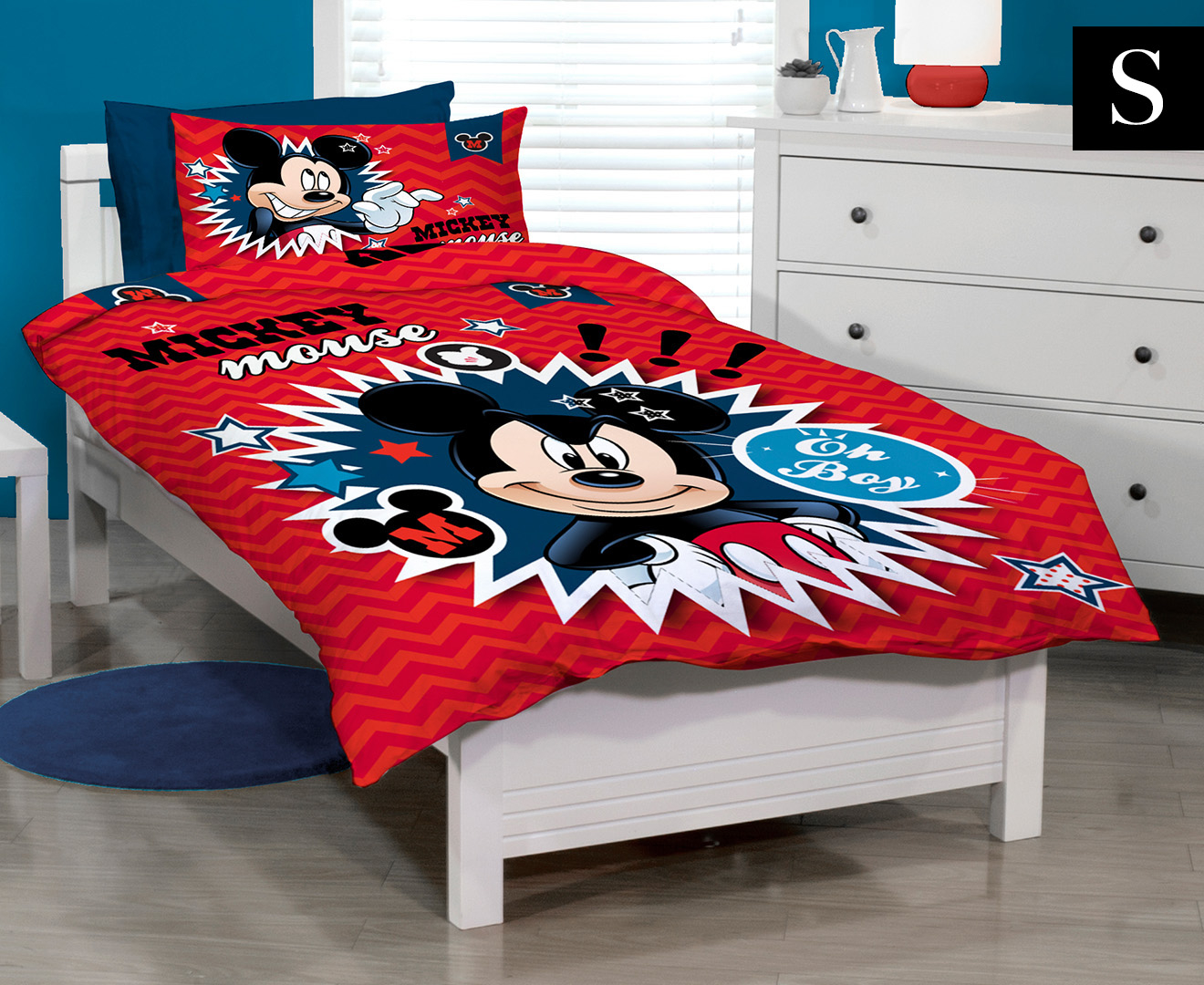 disney mickey mouse clubhouse single bed quilt cover set red ebay. Black Bedroom Furniture Sets. Home Design Ideas