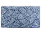 Velour 100x180cm Leaves Beach Towel - Navy/White 1