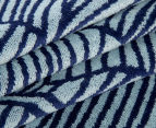 Velour 100x180cm Leaves Beach Towel - Navy/White 2