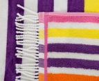 Velour 100x180cm Stripe Beach Towel - Multi 3
