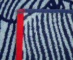 Velour 100x180cm Leaves Beach Towel - Navy/White 3